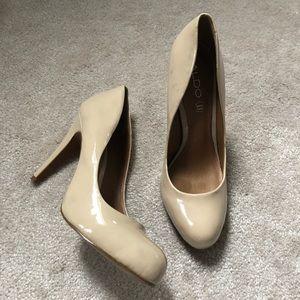 ALDO Beige Leather Heels, Size 39